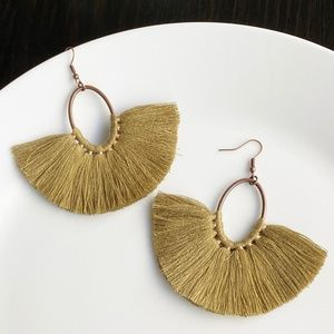 "Jewelry - NEW ""Amoret"" Tassel Earrings (Olive)"